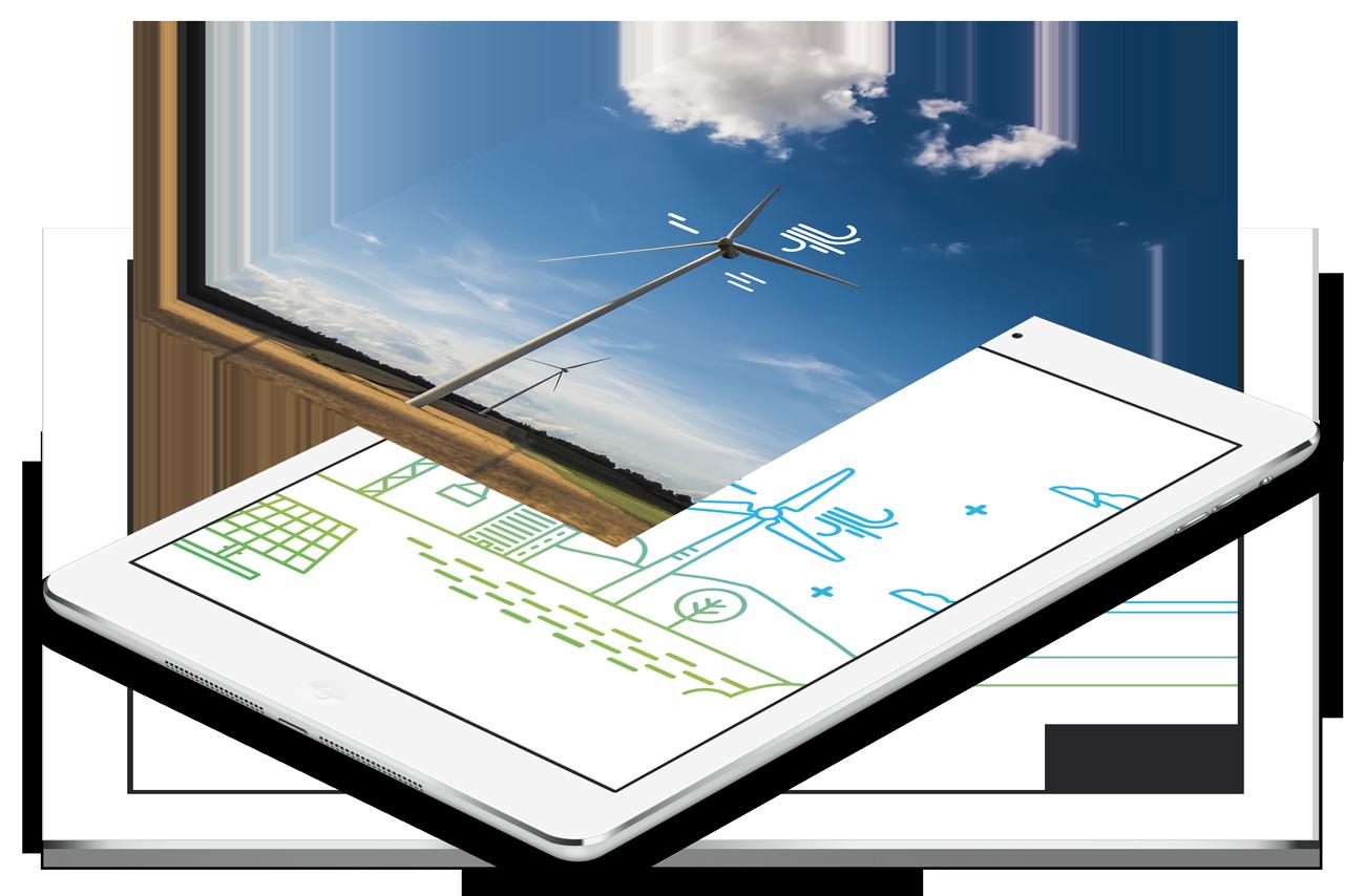 Ipad, éoliennes en dessin et photo