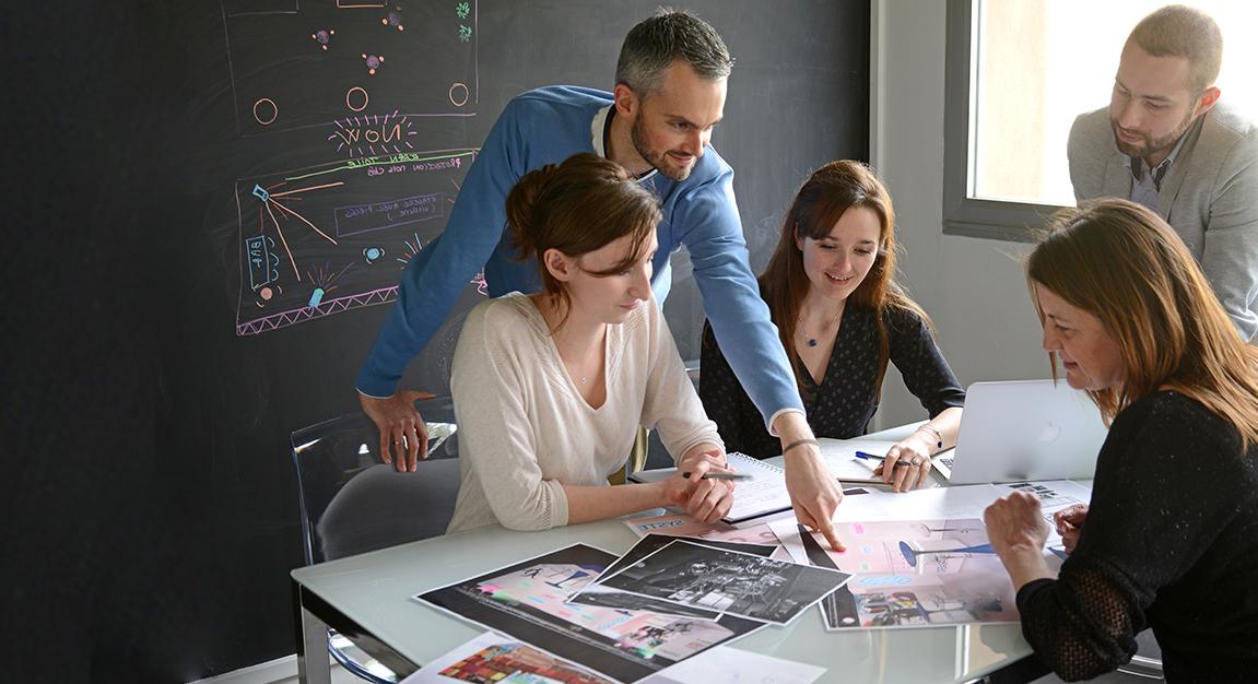 Équipe, brainstorming, communication