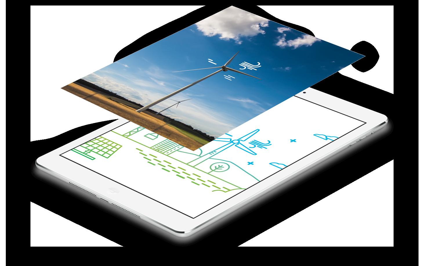 Ipad montrant des infographies et illustrations d'éoliennes