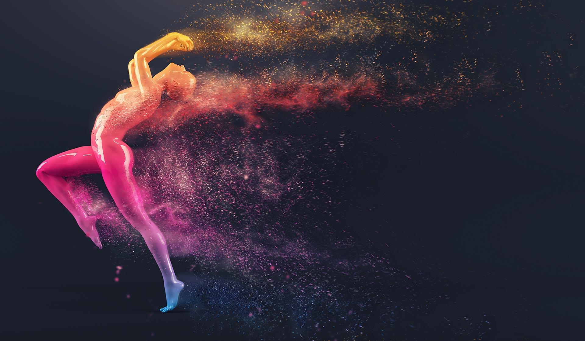 Femme qui danse avec de la peinture pour une agence de communication