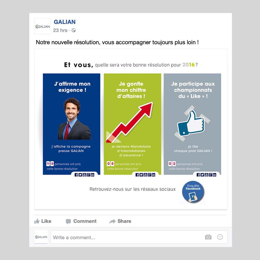 Carte de voeux réseaux sociaux Galian